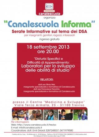 Serata gratuita Canalescuola. 18 settembre 2013